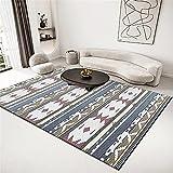 Alfombra Persa Alfombra Azul, Fina patrón Resistente al Desgaste a la Almohadilla de Arrastre a Prueba de Humedad alfombras Infantiles Lavables Carpeta fácil 7-Azul_180x280cm