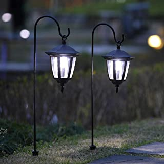 Best Maggift 34 Inch Hanging Solar Lights Dual Use Shepherd Hook Lights with 2 Shepherd Hooks Outdoor Solar Coach Lights, 2 Pack Reviews
