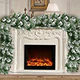 NA. 1.8M Christmas Garland, Snow Flocked Garlands White Artificial Garland Decorated Green Pine Soft Festive Decoration for Fireplaces Stairs Doors Garden Yard Decor