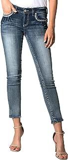 Grace in LA Women's Detail Embroidered Easy Skinny Jeans | EN-61313