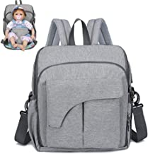 Baby Diaper Backpack,with USB Charging Port Soft Changing Pad Stroller Straps Large Capacity Multi-Function Waterproof Unisex for Travel,Gray