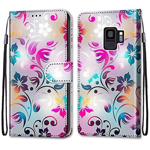 ShinyCase für Samsung Galaxy S9 Hülle PU Leder Brieftasche Kartenfächer Flip Cover Ständer Protection Magnetverschluss Etui Stoßfest Anti-Scratch Schutzhülle für Samsung Galaxy S9,Farbige Blumen