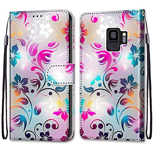 Nadoli Handyhülle Leder für Samsung Galaxy S9,Bunt Bemalt Gradient Bunt Blumen Trageschlaufe Kartenfach Magnet Ständer Schutzhülle Brieftasche Ledertasche Tasche Etui