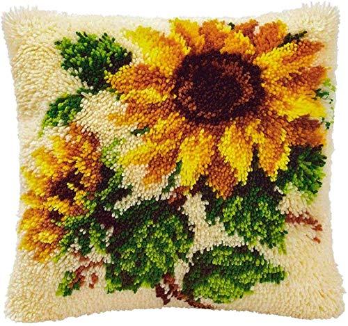 QAZWSX Crochet Kit Werfen DIY Stickerei Kissen Handstickpackungen, Verriegelungshaken-Kits for Wurfkissenbezug Sofakissenbezug (Flower1) handgefertigt (Color : Flower1)