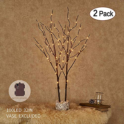 Hairui Tabletop Lighted Brown Willow Branch Decor with Dew Drop Lights 32in 100LED, Pre-lit Twig Branch Lights Battery Powered for Indoor Outdoor Home Christmas Garden Party Wedding Decoration 2 Pack