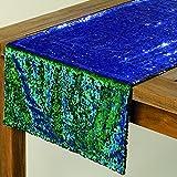 Home Collection Pailletten Tischläufer 140x40cm grün/Blau