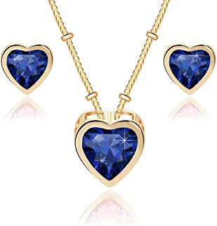 Swarovski Crystal Heart Pendant Necklace Earrings for Women 14K Gold Plated Hypoallergenic Jewelry Set