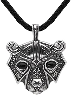 Men Stainless Steel Bear Head Norse Viking Amulet Pendant Necklace