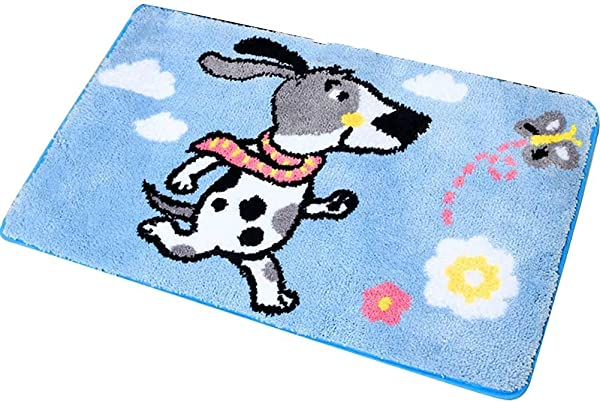 Bath Mat Kids Bath Rugs Bath Mat Rug Blue Bathroom Carpet Door Mat Entering The Door Foot Pad Hall Household Kitchen Non Slip Thick Water Absorption WEIYV Color Blue Size 5080cm