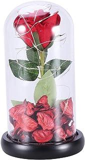 LED Verre Rose dans Le dôme décoratif Rose Fleur Lampe Longue durée en Verre dôme Fleur Table Fleur lumière Cadeau pour Pe...