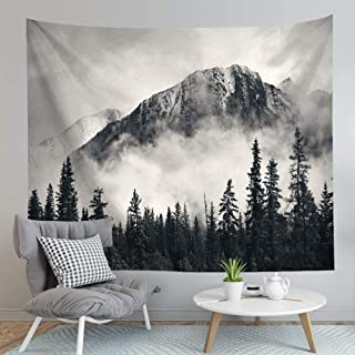 """BJYHIYH Mountain Forest Tapestry Wall Hanging Black and White Nature Tapestries Landscape Tapestry for Bedroom Living Room Dorm(90""""×60"""")"""