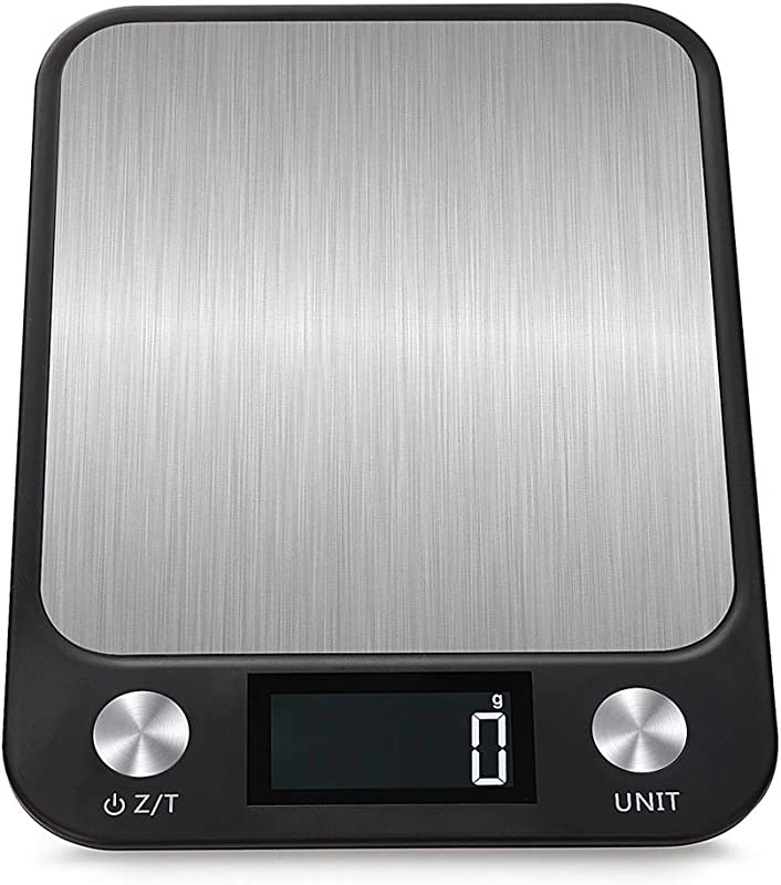 Kitchen Scale Multifunction Digital Food Scale 22 Lb 10 Kg Capacity Ultra Slim Stainless Steel With Large LCD Display Tare Function Black