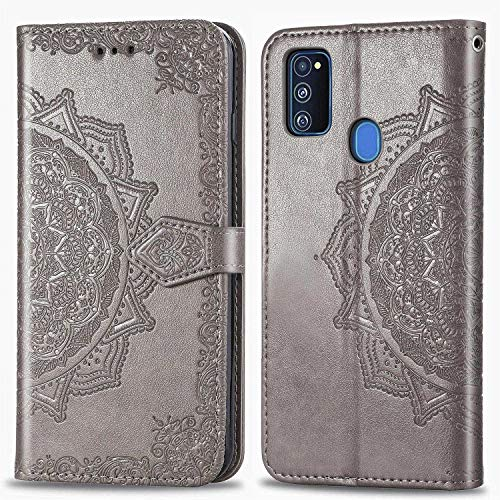 Bear Village Hülle für Galaxy M30S / Galaxy M21, PU Lederhülle Handyhülle für Samsung Galaxy M30S / Galaxy M21, Brieftasche Kratzfestes Magnet Handytasche mit Kartenfach, Grau