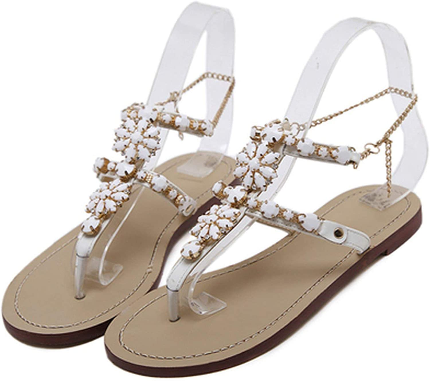Monicas-house New Leisure Women Sandals Slippers shoes Rhinestones Crystal Chains Gladiator Flat Sandals Plus Size 35-43