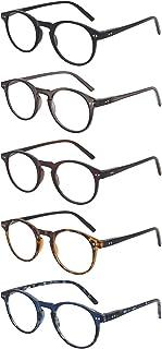 5 Pack Reading Glasses Round Frame Blue Light Blocking Glasses Spring Hinge Readers for Women and Men Stylish Eyewear (2.0X, 5 Color Assorted)