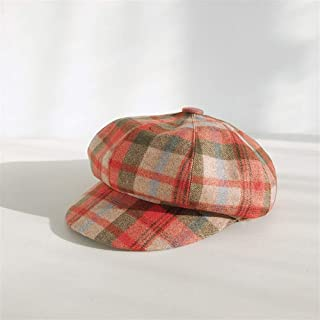 SHENTIANWEI Plaid Beret Female Autumn and Winter Korean Version of The New Retro Octagonal hat Japanese Wool Cap Influx of Male Wild (Color : Red and Green, Size : One Size)
