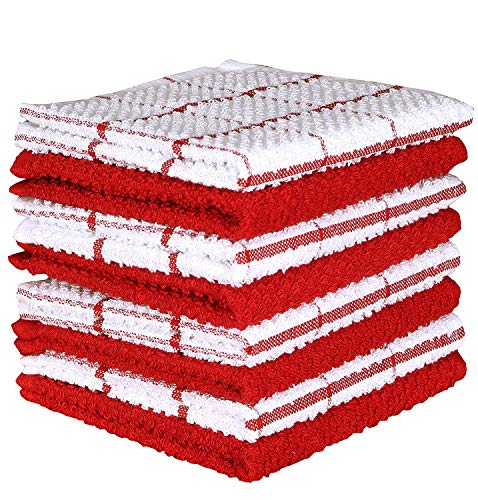 AMOUR INFINI Cotton Terry Kitchen Dish Cloths | Set of 8 | 12 x 12 Inches | Super Soft and Absorbent |100% Cotton Dish Rags | Perfect for Household and Commercial Uses | Red