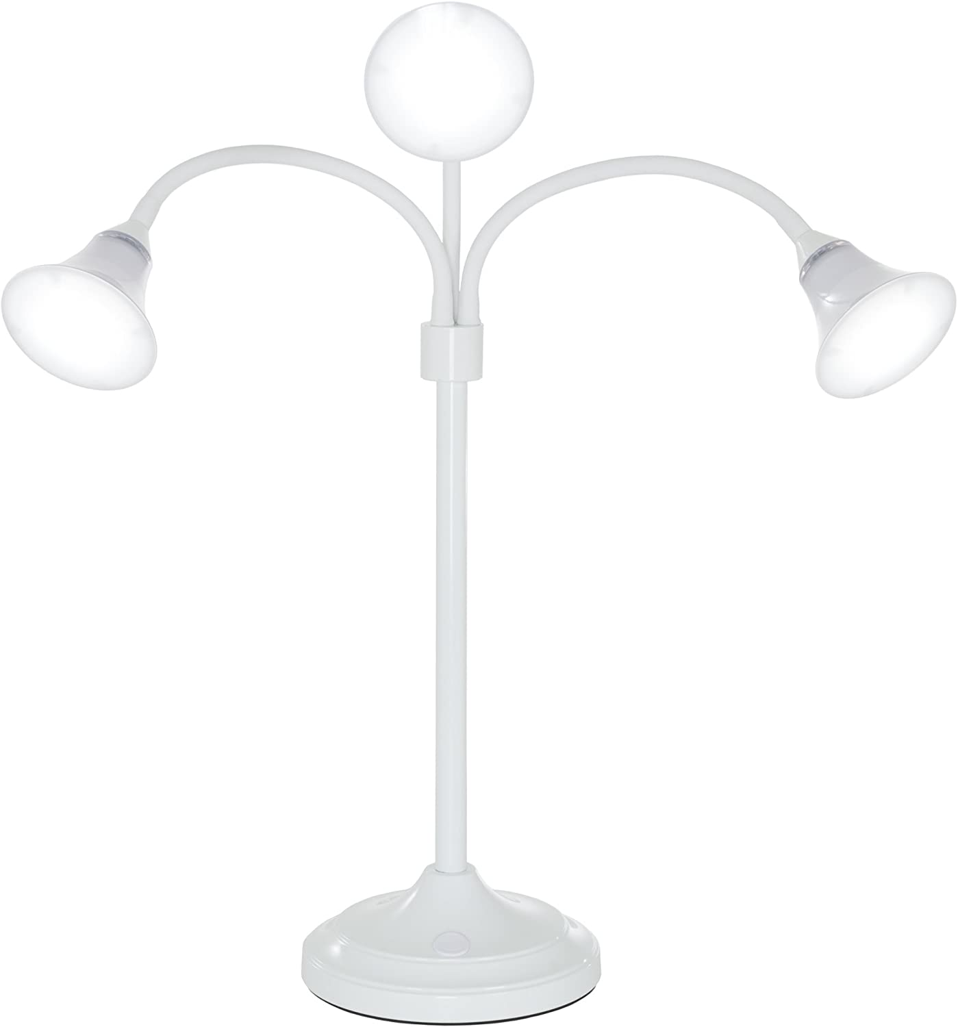 Lavish Home 72-4000W 3 Head Desk Lamp, LED Light with Adjustable Arms, Touch Switch and Dimmer (White)