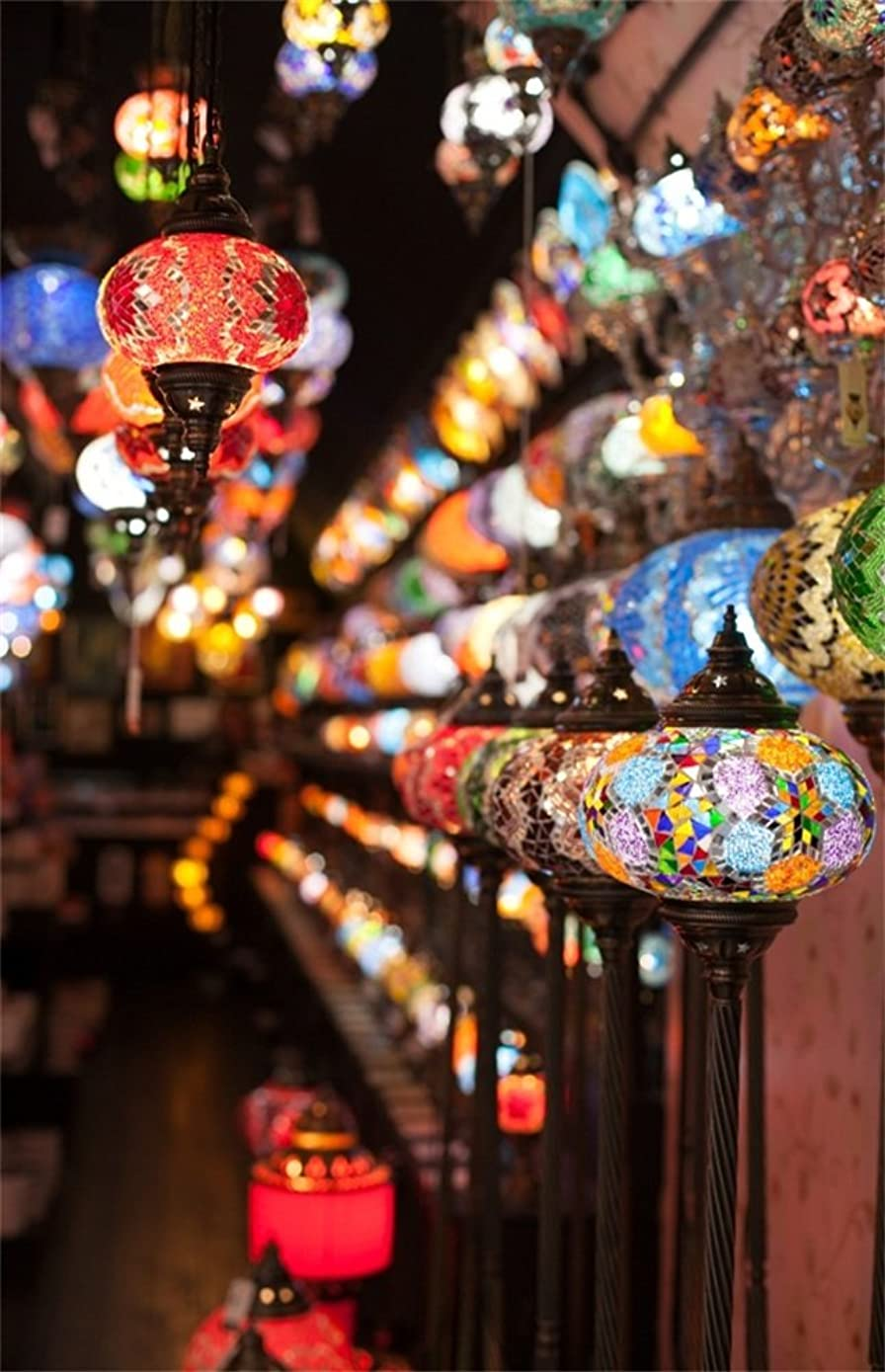 Leowefowa 3X5FT Hanging Colorful Turkish Arabic Glass Lamps Lanterns Range Backdrop Vinyl Photography Background Kids Baby Photo Studio Props