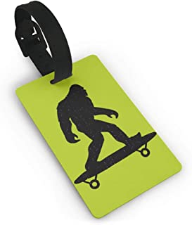 Funny Bigfoot Skateboard Skater,Plastic,Luggage Tag,PVC Travel,Suitcase Labels ID Tag Travel Luggage Tag ID Identification Labels