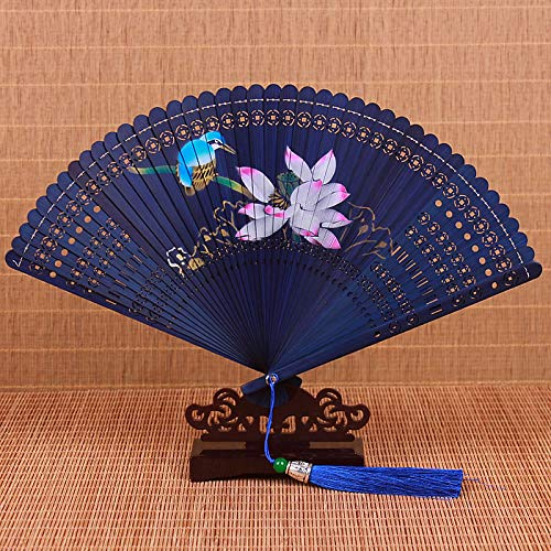 XIAOHAIZI Folding Fan Handheld, Zomer Chinese Stijl Women'S Bamboe Fan Blauw Holle Plant Lotus Dier Vintage Vintage Folding Fan Geschikt voor Bruiloft Lady Gift Dance Fan Subway Folding Fan