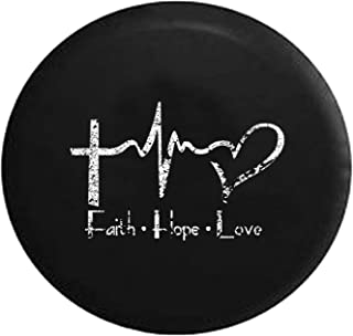 Distressed - Faith Hope Love Cross Heart EKG Jesus Religious Spare Tire Cover fits SUV Camper RV Accessories 32 Inch
