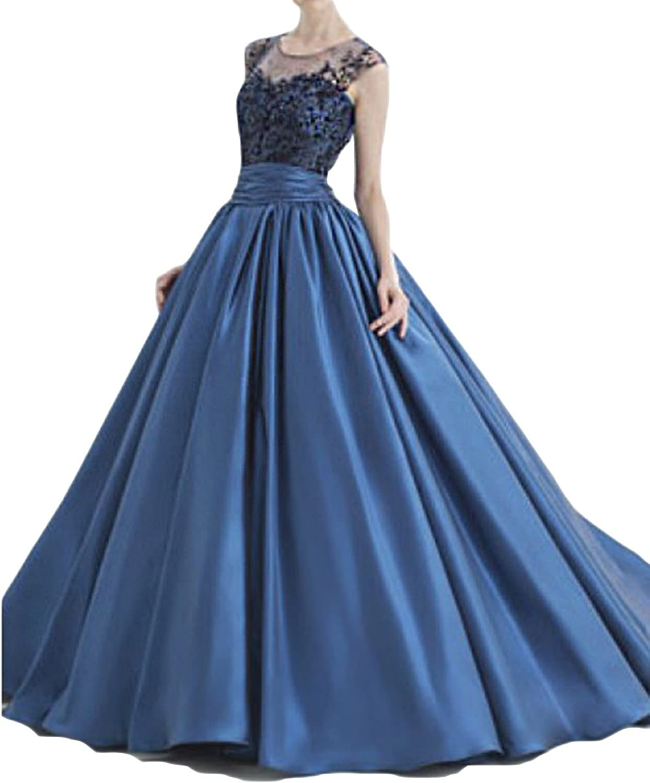 StayPretty Elegant bluee Satin Dresses for Women Evening Gowns Floor Length A Line