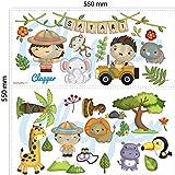 Clapper Vinilo Adhesivo Infantil Safari Animales de la Selva. Animales Salvajes de la Jungla Vinilo Pegatinas Decorativas Adhesivas niños y niñas