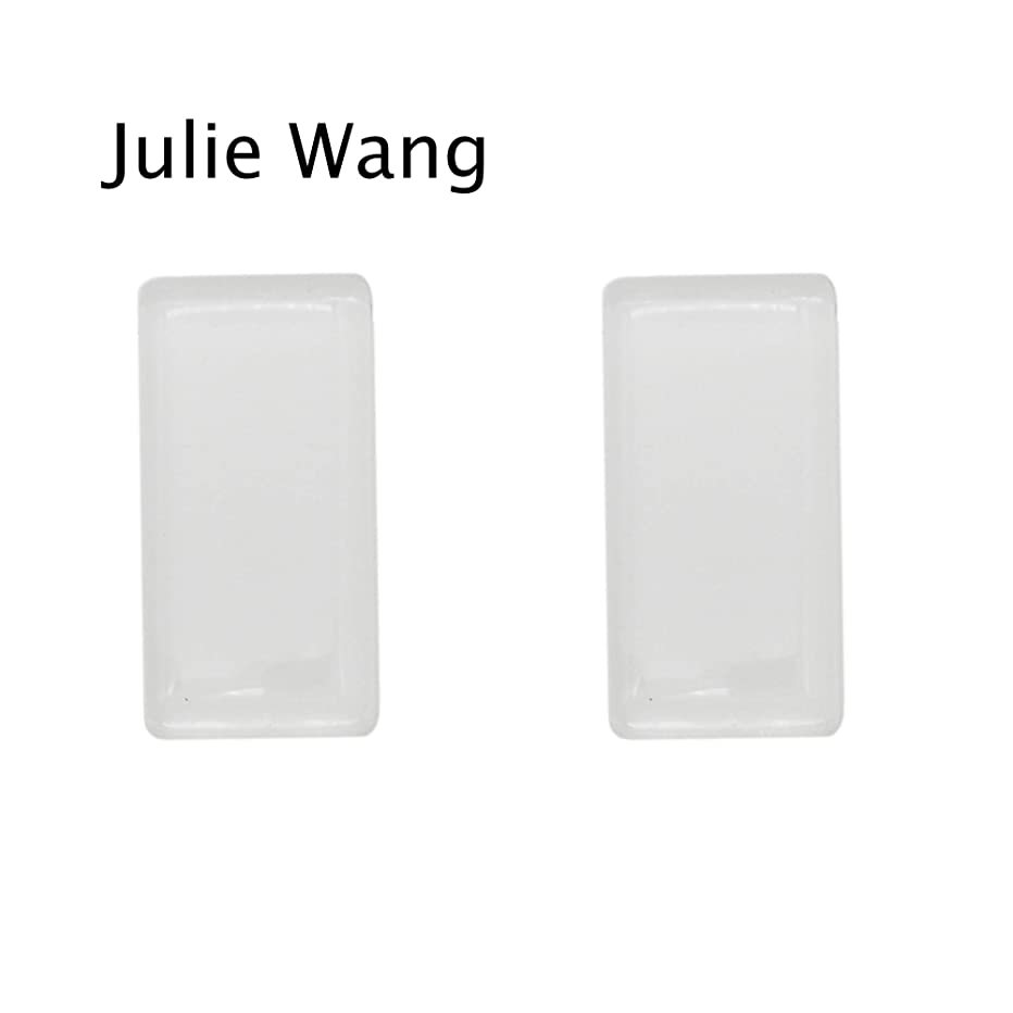 16pcs 24x47mm Rectangle Flat Back Clear Glass Tile Dome Cabochons for Photo Pendant Jewelry Making