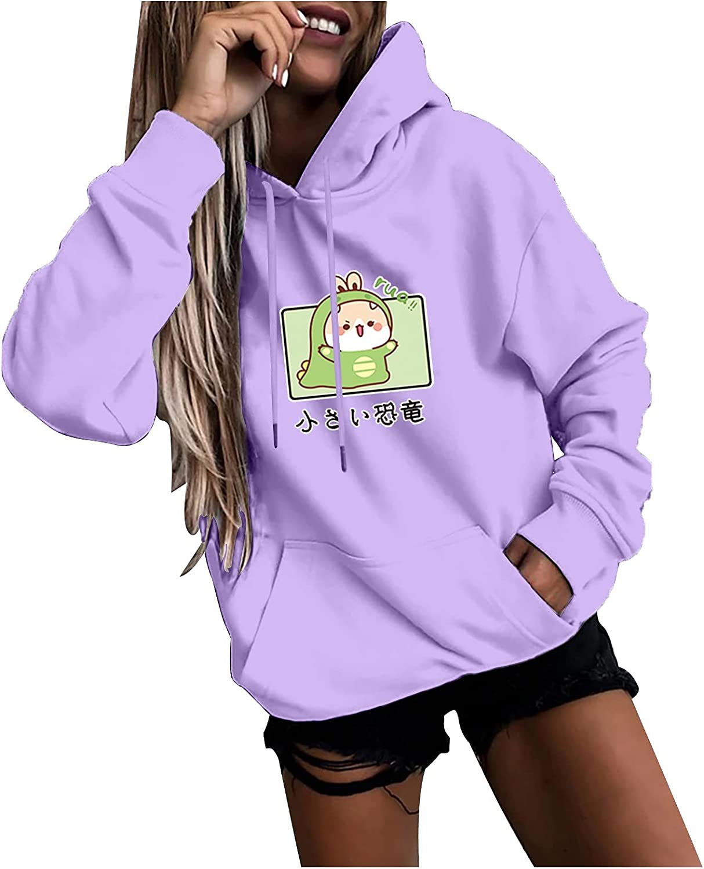 Hoodies for Womens Long Sleeve Casual Sweatshirts Cute Cartoon Print Drawstring Hoodie Autumn Pullover Tops