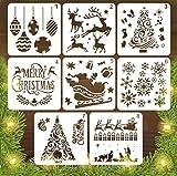 YOUKCDT 8 Stück Weihnachts Schablonen Set Weiß Stencil Schablonen Aushöhlen Malschablonen 13 * 13cm Zeichenschablonen Wiederverwendbar Weihnacht Zeichnung Malerei Set für Kinder DIY Weihnachtsdekor