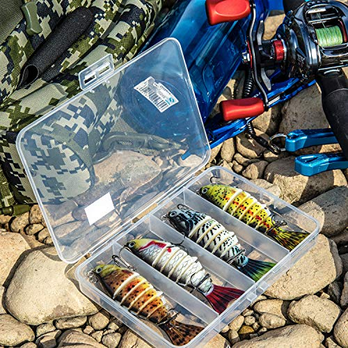 Fishing Lures for Bass Trout Jointed Swimbaits Bionic Swimming Lure Freshwater Saltwater 7 Segmented Slow Sinking Bass Fishing Lures Kit Pack of 4 Lifelike