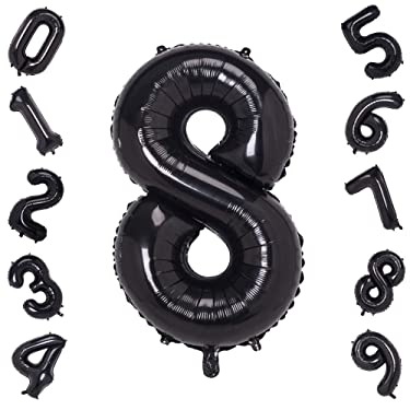 40 Inch Large Black Balloons Numbers 8,Foil Helium Digital Balloons for Birthday Anniversary Party Festival Decorations