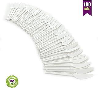 GoBeTree Cuchillos Desechables biodegradables de plástico. Cubiertos Desechables compostables. Cuchillos de Bio-plástico CPLA Blanco Resistentes al Calor. 100 Cuchillos Blancos de 16.5 cm