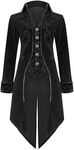Herren Vintage Retro Mantel Mittelalter Gothic Victoria Renaissance Smoking Jacke Cosplay Kostüm XXXL