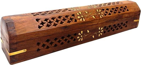 Bignay Wooden Coffin Incense Stick Cone Burner Holder With Storage Compartment Ash Catcher Incense Burner