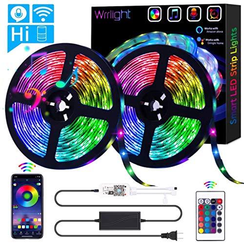 Luces de Tiras LED Luz RGB, Control de Voz y App Inteligente, WiFi Tira TV de la Música Compatible con Alexa y Google Home, Decoración para el Hogar, Boda y más,32.8ft 300 Keys