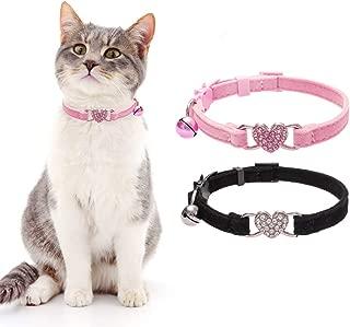 BINGPET Cat Collar Breakaway with Bell, Heart Bling Collar Safety with Soft Velvet Adjustable for Kittens, 2 Pack