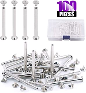Swpeet 50Sets M5x55mm Silver Chicago Binding Screws Kit, Assembling Bolt Screw Fastener Nail Rivets Metal Round Cross Head Stud Screw Posts Button for DIY Leather Decoration Bookbinding