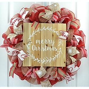 Merry Christmas Wreath | Rustic Christmas Wreath | Outdoor Front Door Wreath | Red Jute White