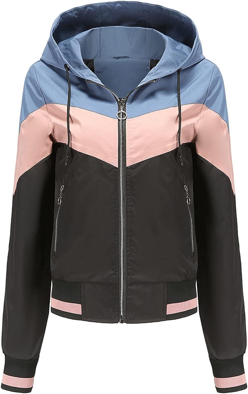 Women's Lightweight Patchwork Windbreaker Activity Jacket Long Sleeve Soft Coat Sweatshirt Zip up Teen Girls Outwear
