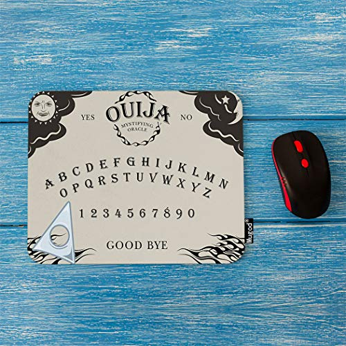 Mugod Ouija Board Mouse Pad Letter Number of a Ouija Board Sun Moon Star Spook on The Planchette Decor Gaming Mouse Pad Rectangle Non-Slip Rubber Mousepad for Computers Laptop 7.9x9.5 Inches