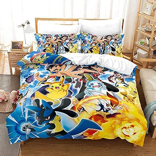 Proxiceen Juego de ropa de cama Pokémon 3D Anime super suave, 3 piezas, funda nórdica de...