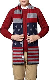 USA Flag UK Flag Men's Winter Warm Wool Knitted Scarf