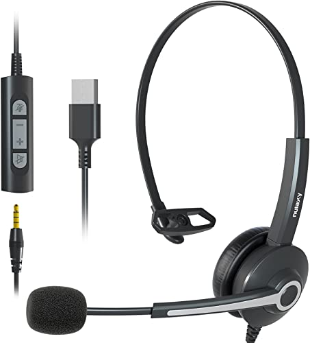 Nulaxy USB Headsets with Microphone, Single-Sided 3.5mm PC Headphones with Noise Cancelling and Clear Sound, Lightweight and Adjustable Skype Headset in-line Control for Laptop, Computer, Phone