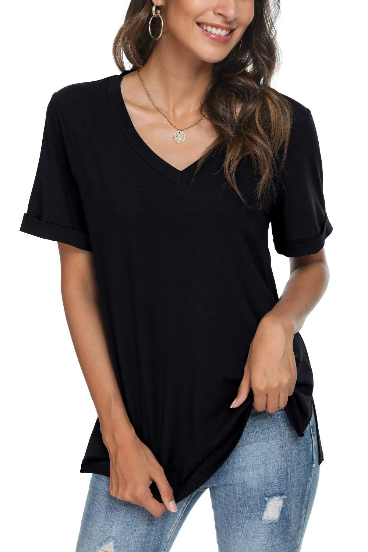 LONGYUAN Womens Casual Tops Tee Comfort Loose Basic T-Shirt Long Sleeve Vneck Cotton Blouses
