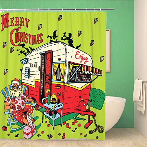 Topyee Shower Curtain Santa Has Rest Christmas Beautiful Best California Dreaming Camp Place 60x72 Inches Waterproof Polyester Bathroom Decor Curtain Set with Hooks