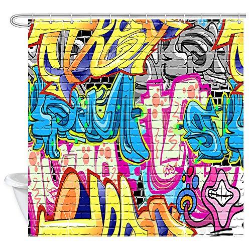 NYMB Creative Street Graffiti Duschvorhang, rustikaler Graffiti an der Wand, Urban Street mit Hip Hop Art Badezimmer-Vorhang, Psychedelischer Stoff Duschvorhang mit Vorhang, 12 Haken