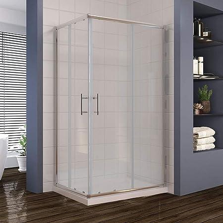 Shower Enclosure Corner Entry Sliding Glass Cubicle Door Stone Tray Free Waste B
