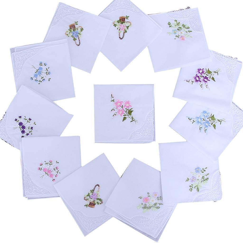 luosh Women's Cotton Handkerchief, Flower Vintage Embroidery Cotton Hankies Pack of 5